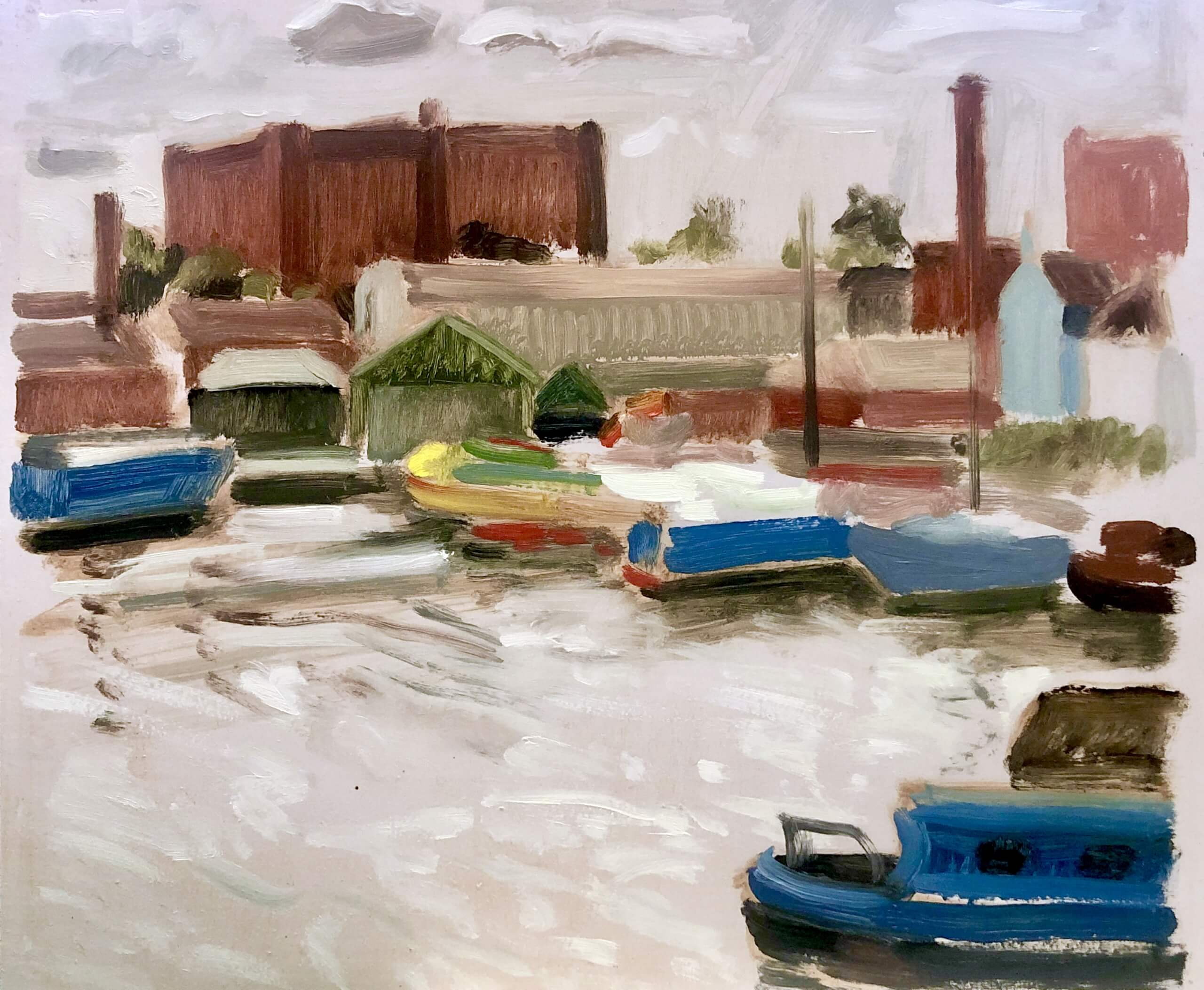 an oil painting of Underfall Yard in the dockland area of Bristol